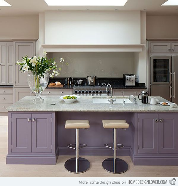 Kitchen with soft purple cabinets/practically neutral