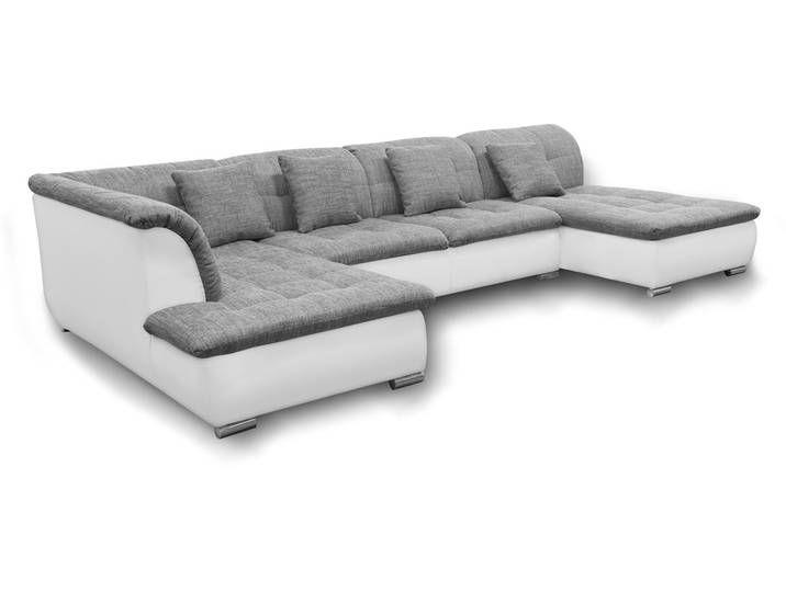 Couchgarnitur Nicole Mit Schlaffunktion Ottomane Rechts Grau Weiss Couch Furniture Home Decor