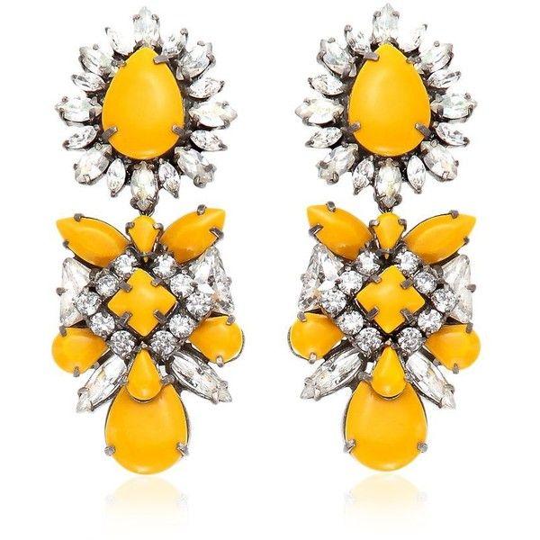 SHOUROUK Blondi Safran Earrings ($677) ❤ liked on Polyvore featuring jewelry, earrings, yellow, shourouk, rhinestone earrings, yellow jewelry, rhinestone stud earrings and shourouk jewelry