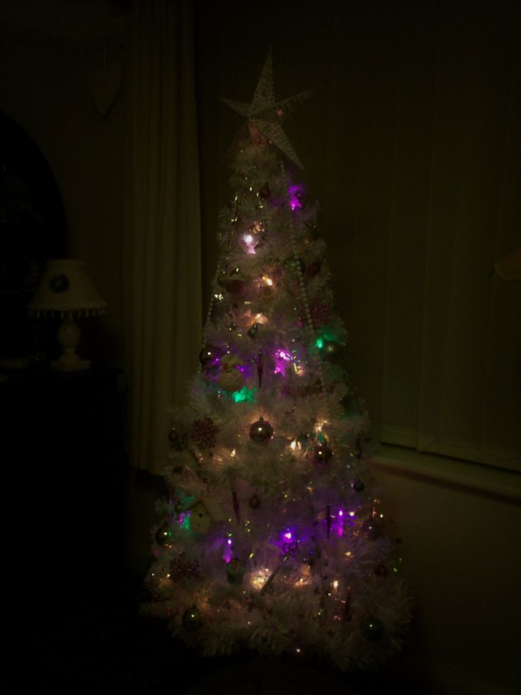 our shabby chic christmas tree with handmde decorations
