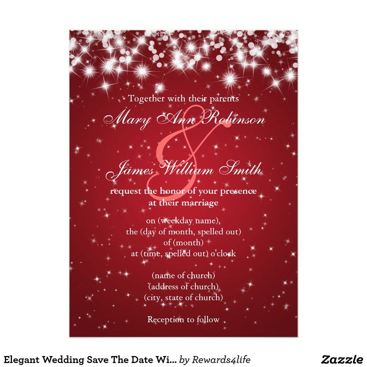 cruise wedding save the date announcement%0A Elegant Wedding Save The Date Winter Sparkle Red Card