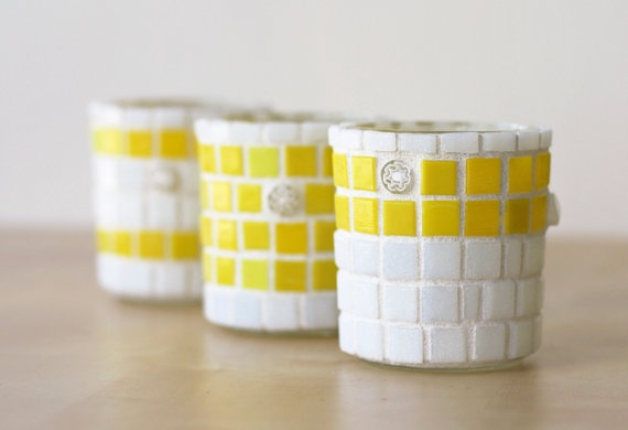 Yellow candle holders.