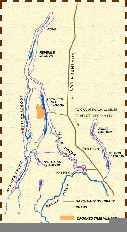 map of crooked tree wildlife sanctuary