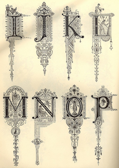 FUn Illuminated Script lettering for Medieval Literature | Decorative Alphabet by onetwentyeight