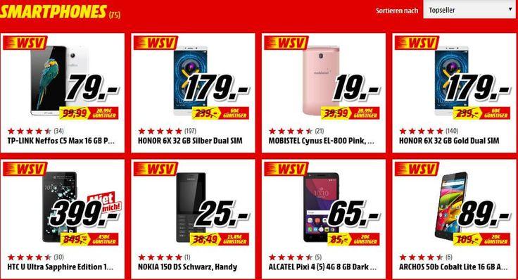 Winterschlussverkauf bei MediaMarkt: Reihenweise Smartphones im Angebot