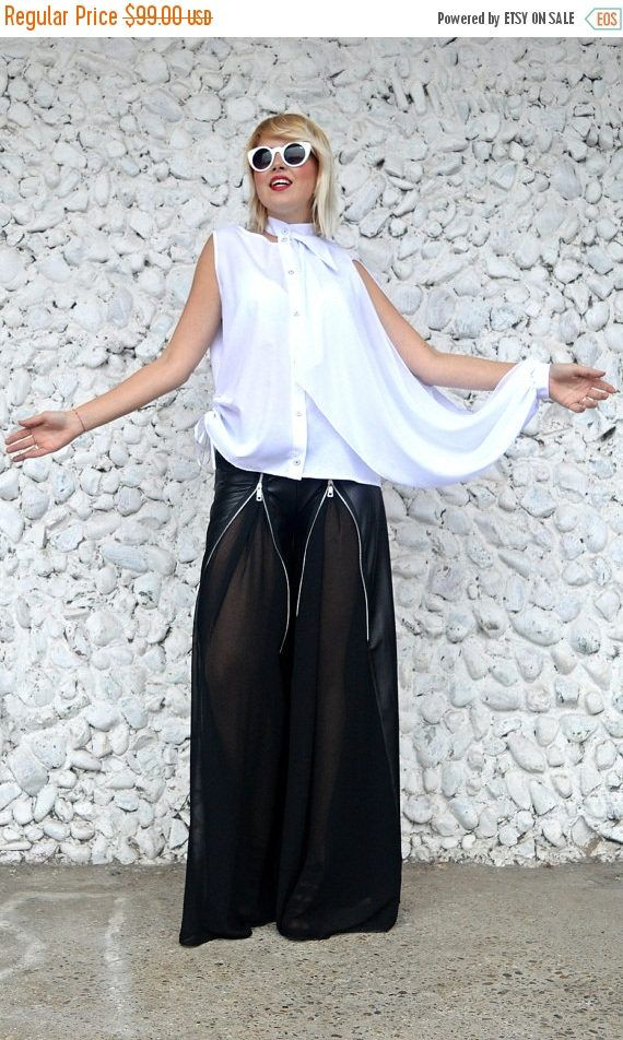 BLUE SALE 30% OFF Extravagant Latex Pants / Loose Latex Pants with Large Zippers and Chiffon / Funky Black Pants Tp27 / Urban Muse