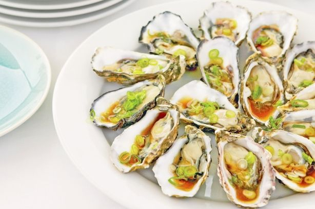 Oysters with soy & sesame dressing
