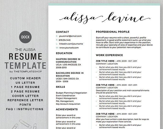 Resume Template Cv Template For Word 4 Pack Social Media Etsy Resume Template Media Kit Template Blog Media Kit