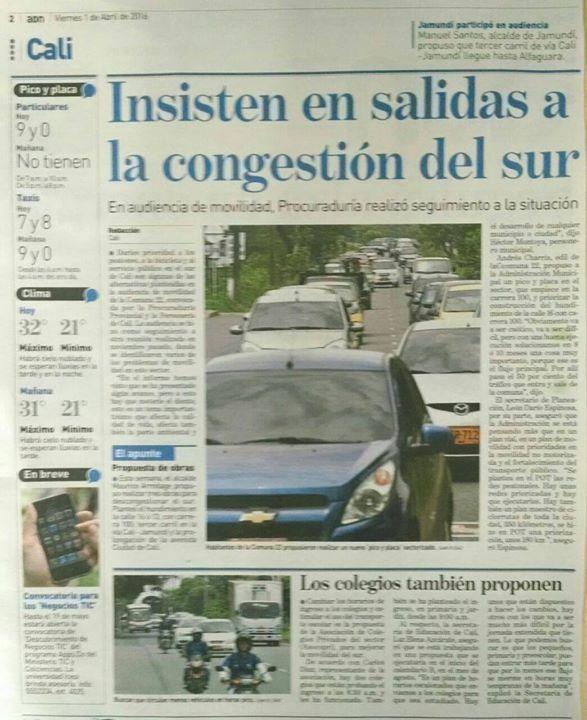 "[Prensa - ADN Cali]  ""Insiten en salidas a congestión de sur"" (impreso)"