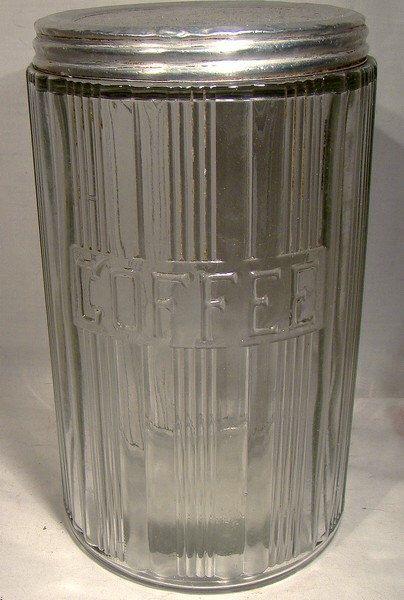HOOSIER Glass COFFEE Kitchen Storage Jar 1920s-30s Original Lid by FionaKennyAntiques on Etsy https://www.etsy.com/listing/173677988/hoosier-glass-coffee-kitchen-storage-jar