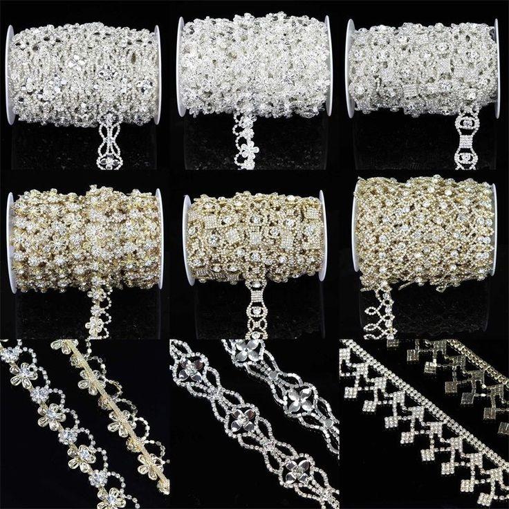 Yarda 1 Diamantes de Imitación de Vidrio Cristal Plata Oro Cadena Con Apliques Trim Hágalo usted mismo Arte de Costura   Artesanías, Costura, Adornos y acabados   eBay!