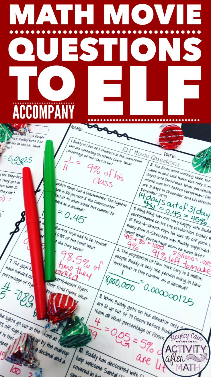 Math movie questions to accompany the movie Elf. This is a great Christmas Math Activity to keep students engaged while doing math. This is a review a fractions, decimals, and percents to use as a reward or substitute plans before the holiday!