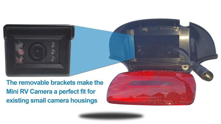 With bracket removed, the mini 120 degree hi-res CCD RV backup camera is 2 in. W x 1.5 in. H x 2 in. D.