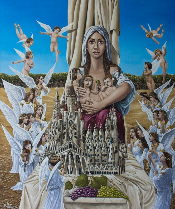 """Angels are Watching with Bated Breath for the Reunion of the Sagrada Familia"" 120x100cm (oil on canvas) Татьяна Денисова"