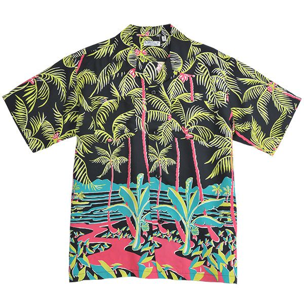 Sun Surf reproduction of 1940s vintage Hawaiian Aloha shirt. Blue with Ohia Lehua flowers. Toyo. Made in Japan. Tiki. 100% smooth rayon DUrt3WvU5