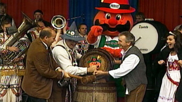 Tapping of the keg at Oktoberfest, Kitchener-Waterloo, Ontario