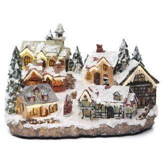 Villaggio natalizio con chiesa 30x20x20 cm