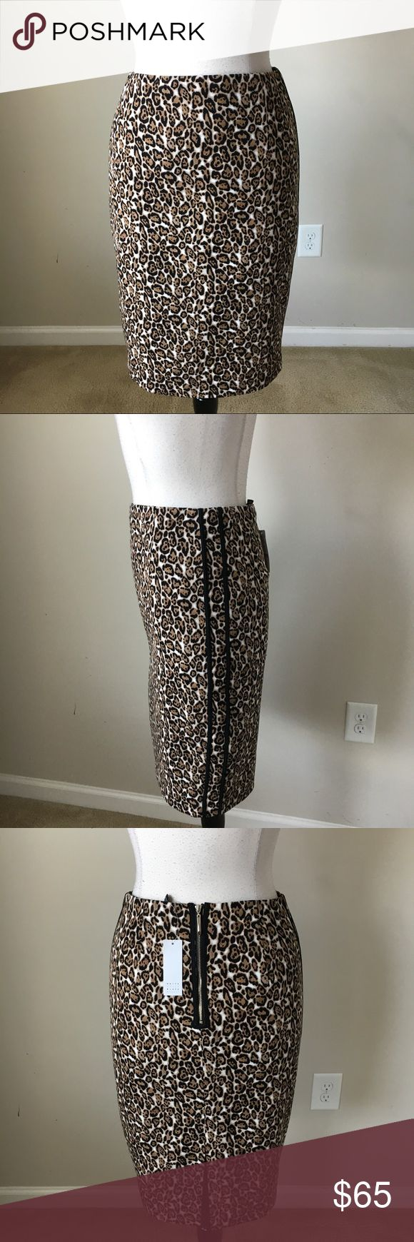 leopard animal print pencil skirt size 12 -Fully lined -Shell: 95% Cotton, 5% Spandex -Lining: 100% Polyester -Black side panels -Center back zip -Exposed back zipper -Measurements in inches:  Size 8: Bust 31.5, hip 40, length 22.5  Size 12: Bust 34, hip 43, length 23 White House Black Market Skirts Pencil