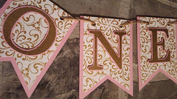 rosa e oro primo compleanno banner uno di declanandsmith su Etsy