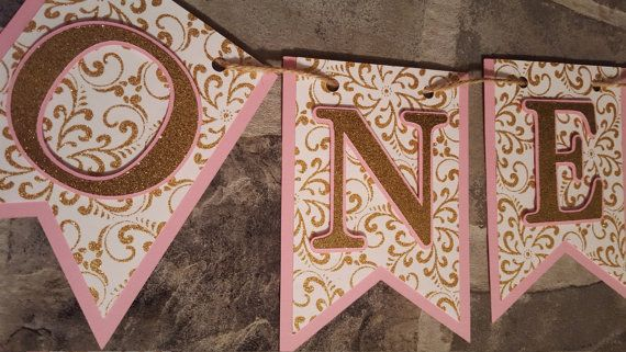 pink and gold first birthday banner ONE banner by declanandsmith
