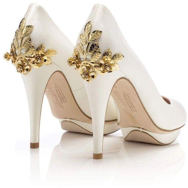Bridgette Rose Gold, Harriet Wilde, designer wedding shoe, bridal ❤ liked on Polyvore featuring shoes, bride wedding shoes, ivory shoes, evening shoes, evening bridal shoes and high heel bridal shoes