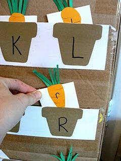 Growing carrot letters. Could do with both uppercase as a matching game for younger kids