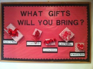 What gifts will you bring? bulletin board. Hands to work, a forgiving heart, a loving attitude, a will to obey, a mind to grow