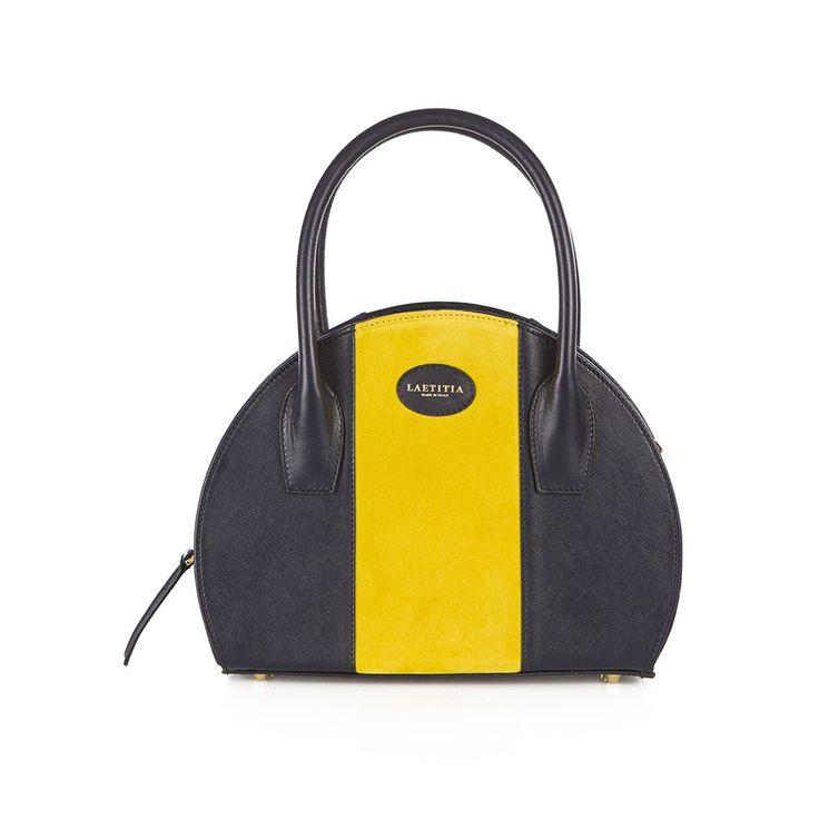 Leather mini shopping bag with saffiano print and suede inserts, golden details and removable shoulder strap. The bag is blue, but you can choose the color of the central band.