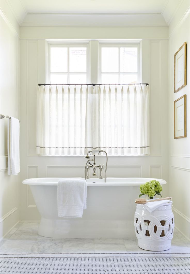 Attractive Chic Bathrooms, Dream Bathrooms, Small Bathrooms, Beautiful Bathrooms, Wall  Molding, Moldings, Bathroom Curtains, Bathroom Windows, Cafe Curtains And Bathroom Window Curtains