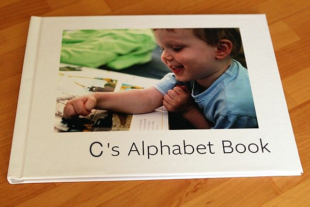 Use pics of your child doing activities to make a personalized alphabet book. Cool idea!