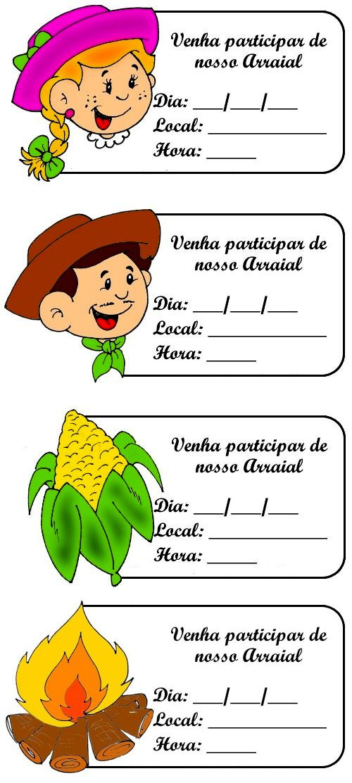 Convites coloridos para festa junina - Pra Gente Miúda