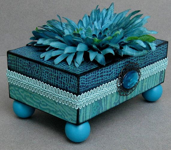 Turquoise Vibrant Trinket Keepsake Decorative Box by funkyart08