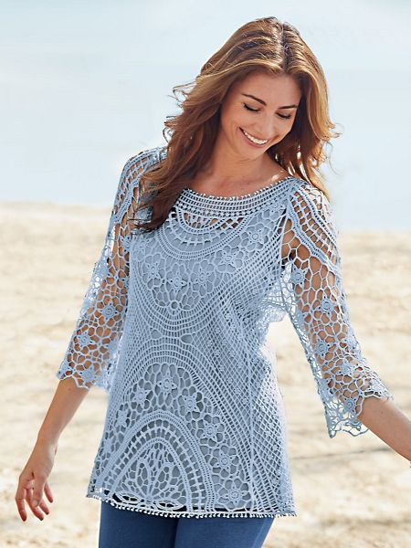 Crochet Lace Tunic - <p> Exquisitely styled with beautiful crocheted patterns for a look that captures your feminine side. Pullover with three-quarter length sleeves in