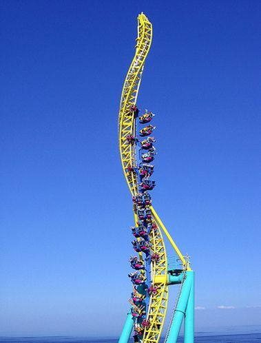 World's Ultimate Scariest Thrill Rides....Cedar Point Amusement Park, Sandusky, Ohio. The Millennium Force lifts to 310 feet and drops 300 feet at 80 degrees,  reaching 93 mph with a few twists and turns........OH MY!!