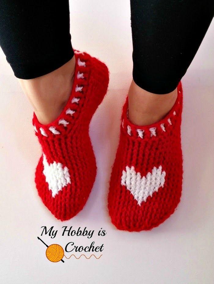 Heart & Soul Slippers  Women size   Free Crochet Pattern   Written Instructions and Graph  My Hobby is Crochet