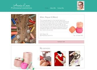 Seamstress Template - A soft and feminine template for anyone with a delicate profession. Promote your work and services by taking advantage of the abundant space to add your own photos and text. To get starts, simply upload images and write your own text and build your bespoke website today!