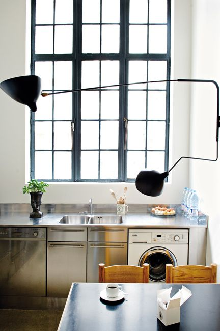 .Kitchens Interiors, Kitchens Design, Lights Fixtures, Serge Mouille, Black Windows, Design Kitchens, Modern Kitchens, Industrial Design, Laundry Room