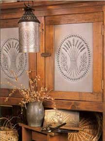 Country Accents creates punch tools and patterns for punching tin. They also make the actual punched tin sheets for use in kitchen cabinets, pie safes and other home decor items...