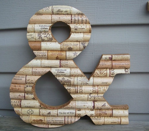 "Cork Art Wedding: 12"" Patina Wine Cork Ampersand Symbol &~Handmade Home Wall"