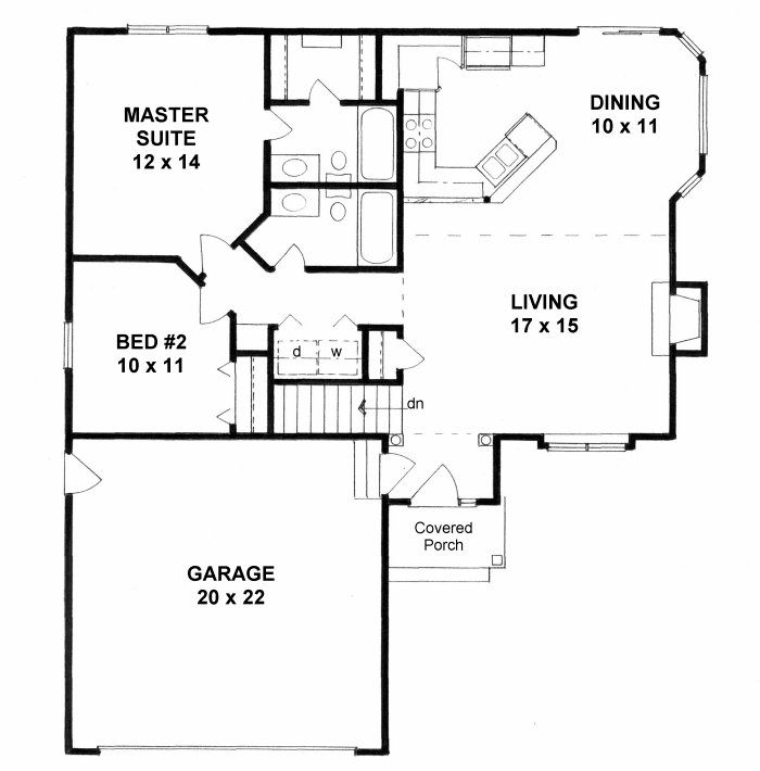 1033 Sq Ft First Floor Plan Of Traditional House Plan 62629
