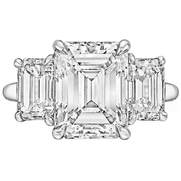 Pre-owned Tiffany & Co. 4.00 Carat GIA Cert Emerald-Cut Diamond... ($135,000) ❤ liked on Polyvore featuring jewelry, rings, engagement rings, emerald cut diamond ring, rectangular diamond ring, preowned engagement rings и blue jewelry