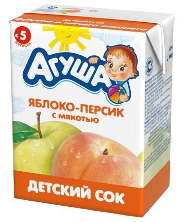 """Сок  Агуша Яблоко-Персик с мякотью, 0.2 л. с 5 мес.  — 21р. ---- Яблочно-персиковый сок с мякотью от """"Агуша"""" производится только из лучших свежих фруктов. Подходит для дополнительного питания малышей, начиная с пятимесячного возраста. Для его изготовления смешивают яблочный и персиковый соки, а также их пюре. Данный фруктовый сок обогащен комплексом витаминов и минералов, которые необходимы для гармоничного развития детского организма, также это хорошо поддерживает и укрепляет иммунную…"""
