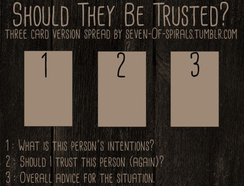 """violetwitchcraft: """" seven-0f-spirals: """" Should They Be Trusted? Spread (Full & 3 card version) I made this spread a few months ago, but got caught up with life and didn't get around to posting it here..."""