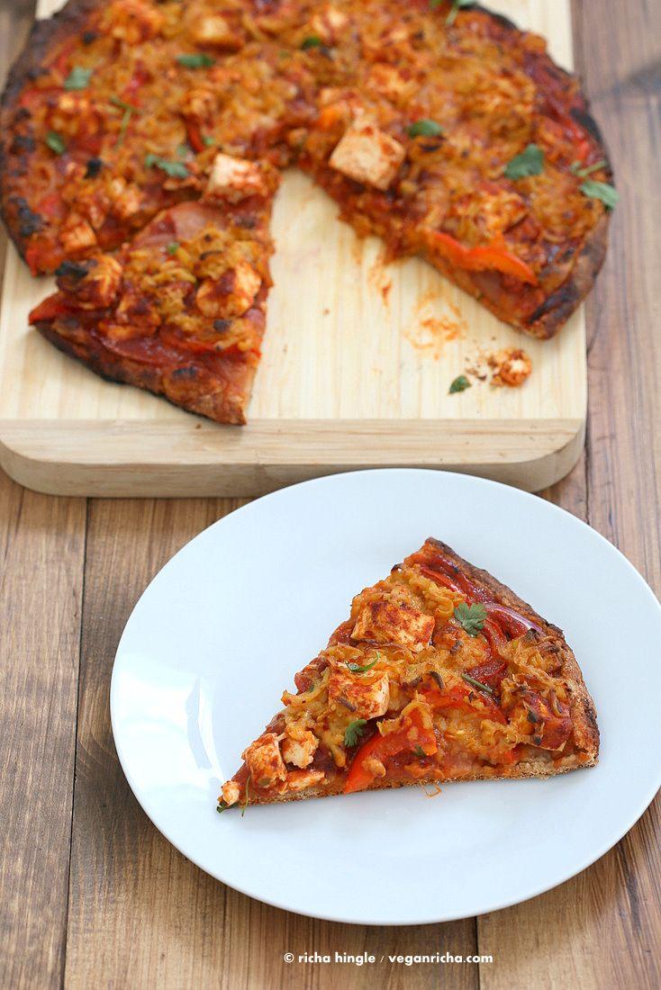 Vegan BBQ Tofu Mandelmilch Pfeffer Jack Käse-Pizza |  VeganRicha.com