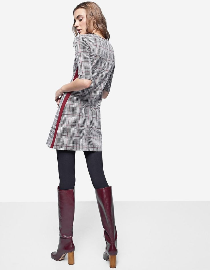 Checked dress with side stripes - Mantlid | Stradivarius Estonia