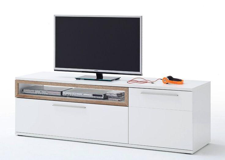 Lowboard Pamplona TV-Element Weiß Hochglanz mit Riviera Eiche 20744. Buy now at https://www.moebel-wohnbar.de/lowboard-pamplona-weiss-hg-mit-riviera-eiche-20744