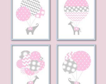 Bébé fille pépinière, éléphant, girafe, bébé Wall Art, Hot Air Balloon Decor, Chevron, pépinière de ballon, bébé fille pépinière Art