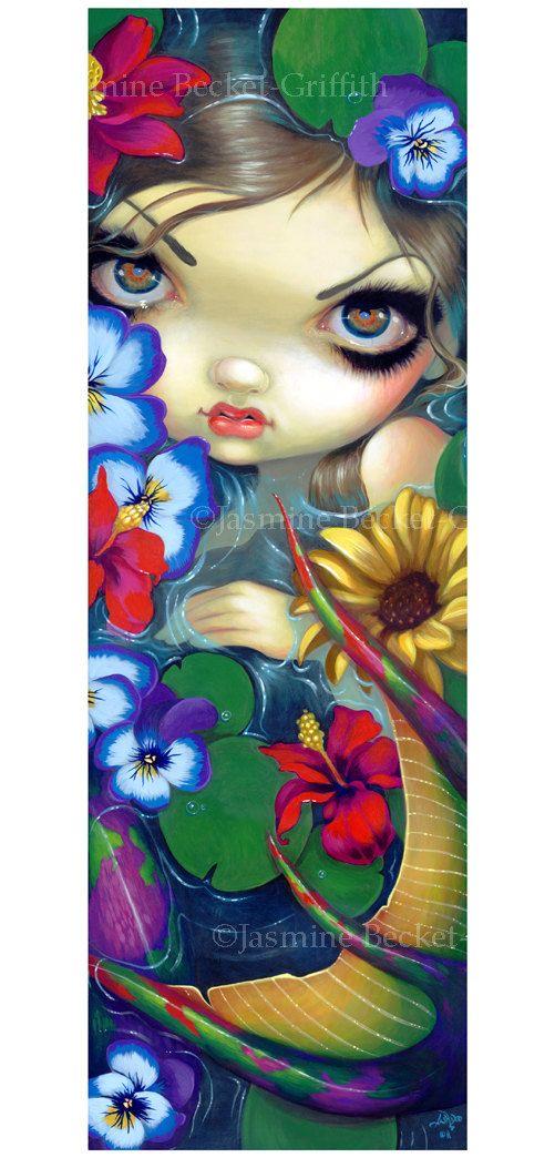 Sirena con arte di fiori galleggianti lilypad di strangeling, $29.99