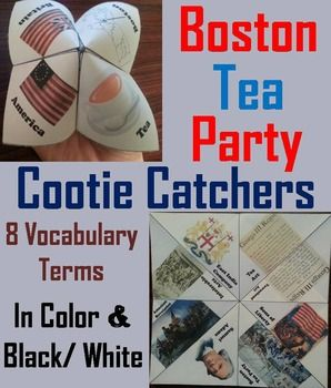 These cootie catchers/ fortune tellers are a great way for students to have fun while learning about the Boston Tea Party within the American Revolution. How to Play and Assembly Instructions are included.These cootie catchers contain the following vocabulary terms: Townshend Act, Sons of Liberty, Boston Tea Party, Samuel Adams, American Revolution, Intolerable Acts, East India Company, Tea Act