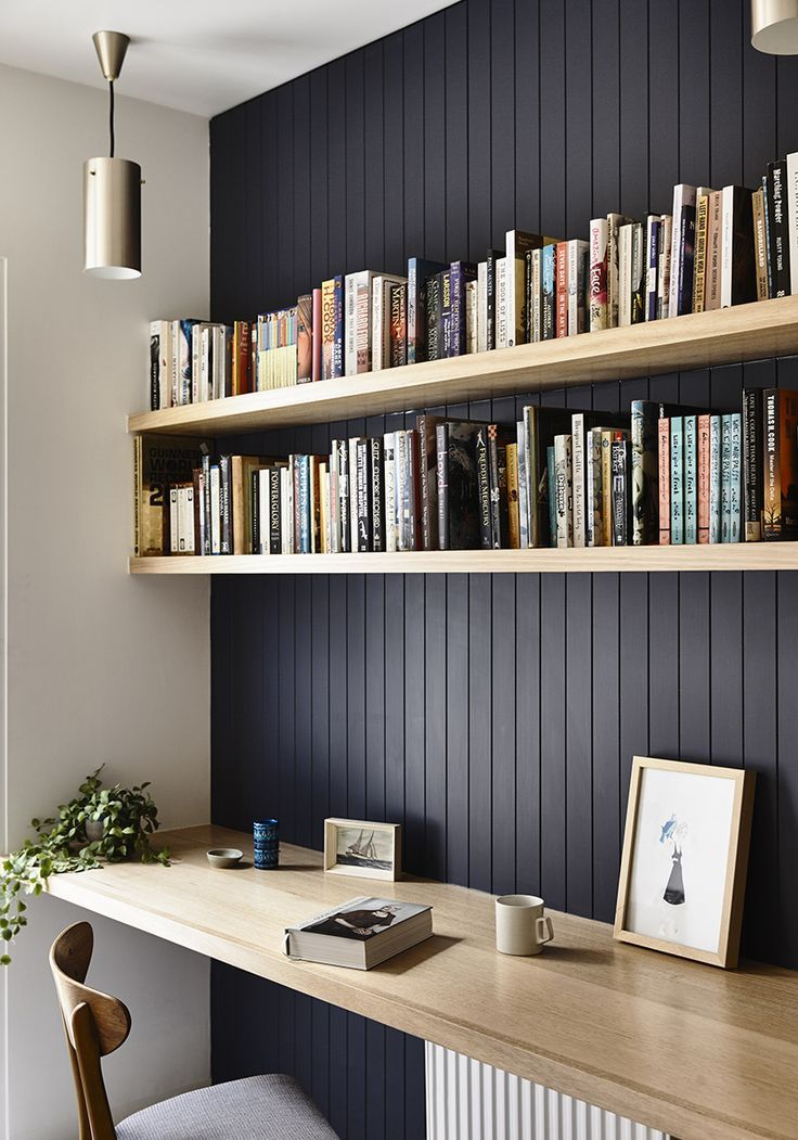 This is nice for our little office area, dark panelled wall with high shelving and a desk for the computer etc.
